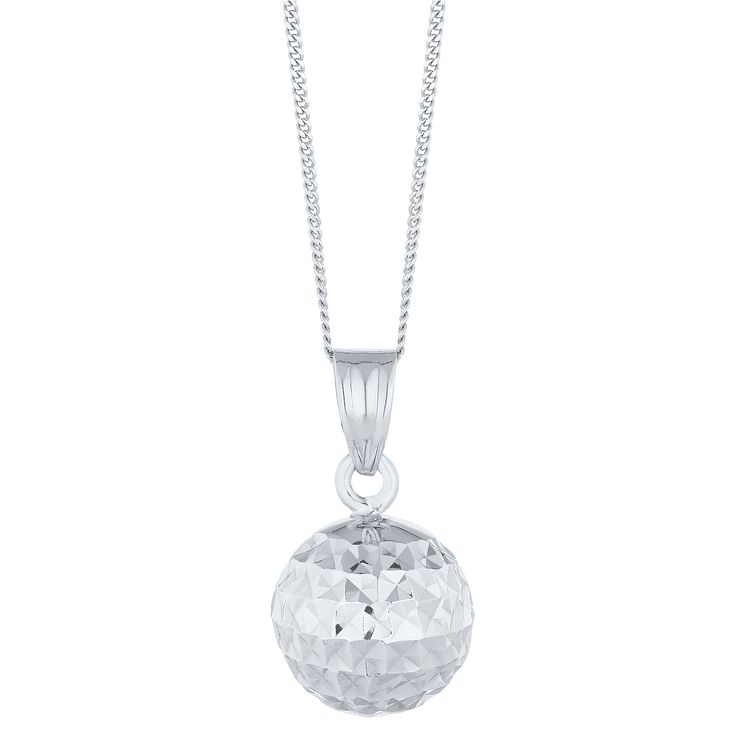 White gold necklaces hmuel 9ct white gold diamond cut ball pendant product number 8111170 aloadofball Images