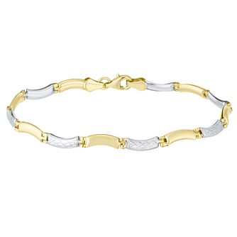 Together Silver & 9ct Bonded Gold Diamond Cut Bar Bracelet - Product number 8111332