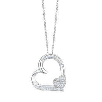 Sterling Silver 0.12ct Diamond Heart Pendant - Product number 8114609