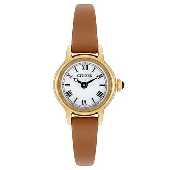 Citizen Elegance Ladies' Yellow Gold Tone Brown Strap Watch - Product number 8117292