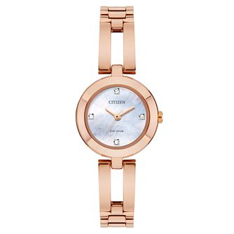 Citizen Bangle Ladies' Rose Gold Plated Stone Set Watch - Product number 8117314