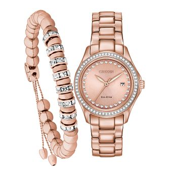Citizen Ladies' Rose Gold Plated Bracelet and Watch Set - Product number 8117357