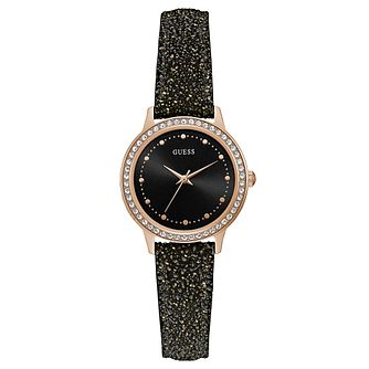 Guess Ladies' Black Leather Strap Watch - Product number 8119333