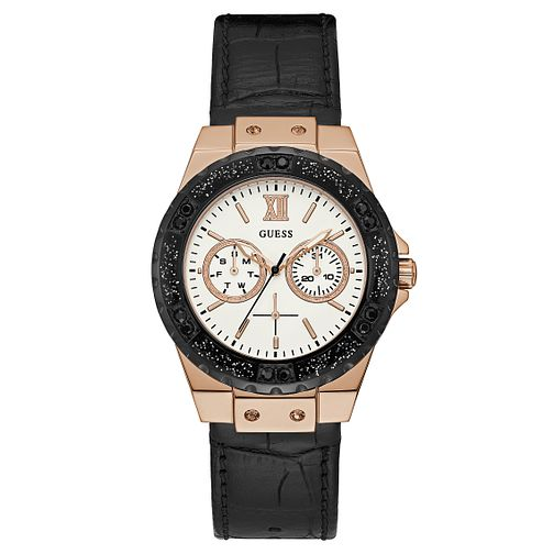 Guess Ladies' Black Leather Strap Watch - Product number 8119368