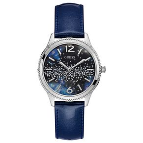 Guess Ladies' Blue Leather Strap Watch - Product number 8119481