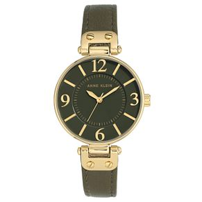 Anne Klein Ladies' Green Leather Strap Watch - Product number 8119740