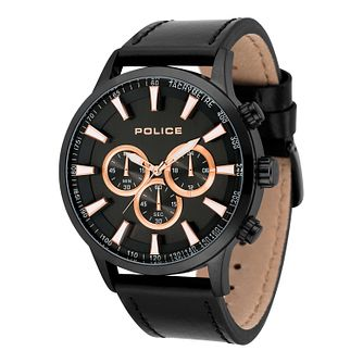 Police Men's Black Leather Strap Watch - Product number 8119821