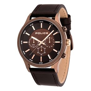 Police Men's Brown Leather Strap Watch - Product number 8119872
