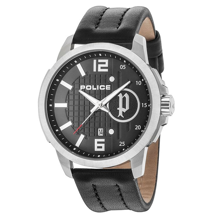 Police Men's Black Leather Strap Watch - Product number 8119880