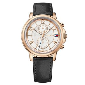Tommy Hilfiger Ladies' Black Leather Strap Watch - Product number 8119988