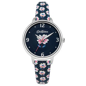 Cath Kidston Ladies' Blue Floral Print PU Strap Watch - Product number 8120498