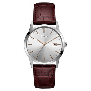 Guess Men's Red Leather Strap Watch - Product number 8122563