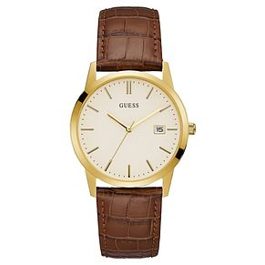 Guess Men's Brown Leather Strap Watch - Product number 8122601