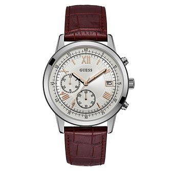 Guess Men's Red Leather Strap Watch - Product number 8122628