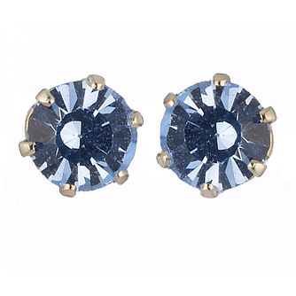 9ct Yellow Gold Blue Crystal Stud Earrings 4mm - Product number 8124868