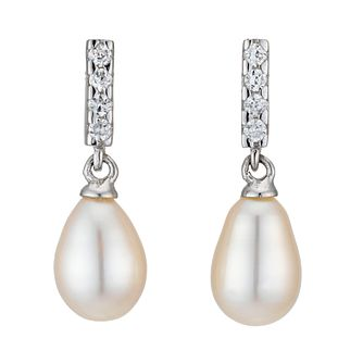 Silver CZ Cultured Freshwater Pearl Earrings - Product number 8125228