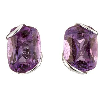 9ct White Gold Amethyst Stud Earrings - Product number 8125333