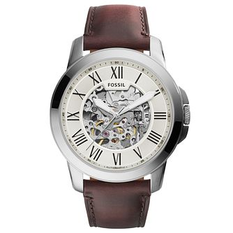 Fossil Men's Grant Automatic Dark Brown Leather Strap Watch - Product number 8130566
