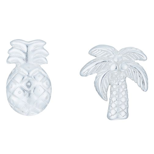 Sterling Silver Palm Tree & Pineapple Mismatched Earrings - Product number 8131074