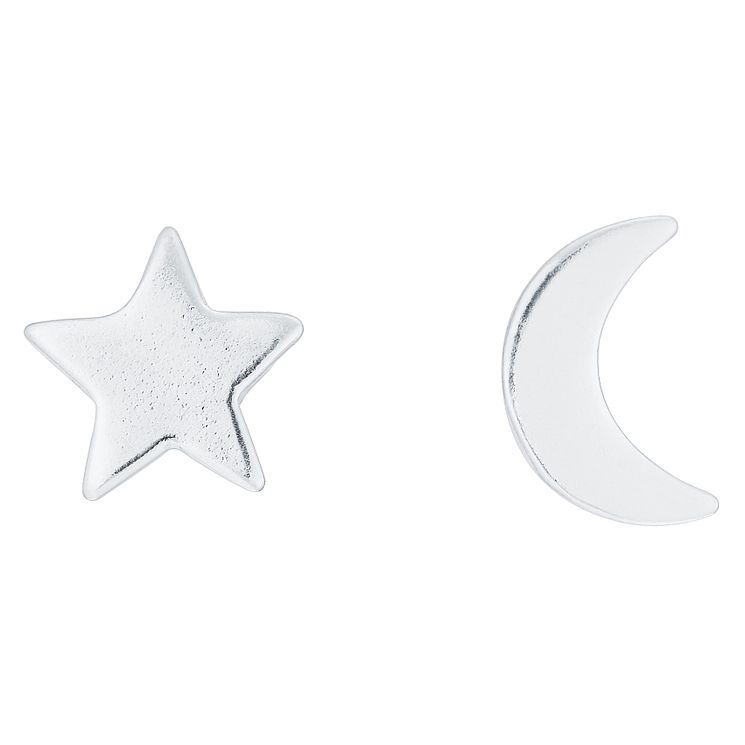 Sterling Silver Star & Moon Mix & Match Stud Earrings - Product number 8131082