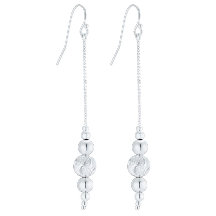 Sterling Silver Single Strand Beaded Drop Earrings - Product number 8131279