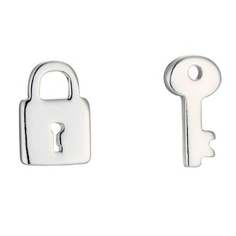 Sterling Silver Padlock & Key Mismatched Stud Earrings - Product number 8131295