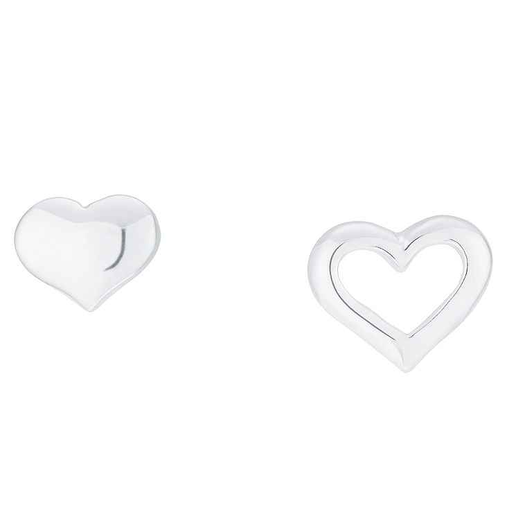 Sterling Silver Heart Mix & Match Stud Earrings - Product number 8131317