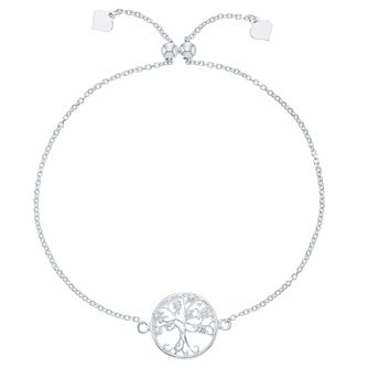 Sterling Silver Cubic Zirconia Tree of Life Design Bracelet - Product number 8132046