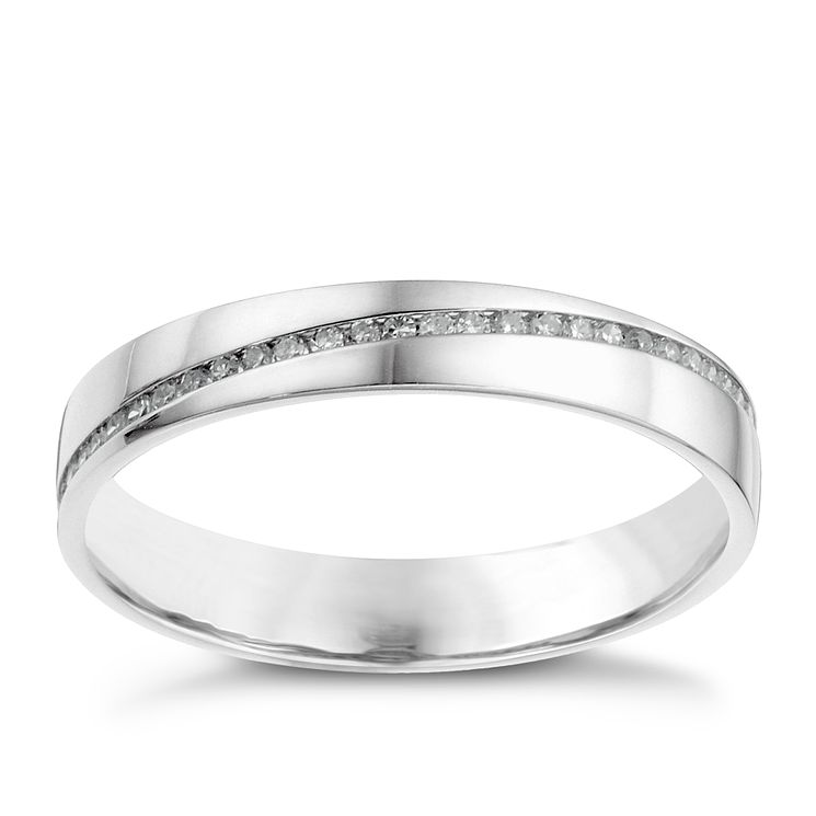 18ct white gold diagonal diamond set wedding ring Ernest Jones