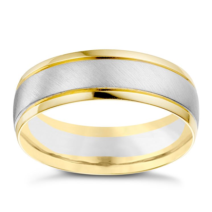 18ct White Yellow Gold Mens Wedding Ring