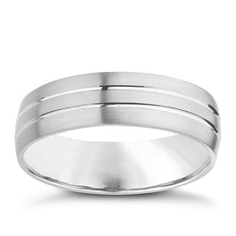 Palladium 950 6mm twin groove matt ring - Product number 8137196