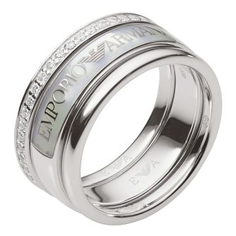 Emporio Armani Ladies' Stainless Steel Signature Ring - Product number 8139466