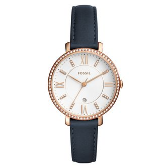 Fossil Jacqueline Ladies' Rose Gold Tone Strap Watch - Product number 8139520