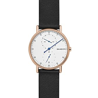 Skagen Signature Men's Rose Gold Tone Black Strap Watch - Product number 8139741