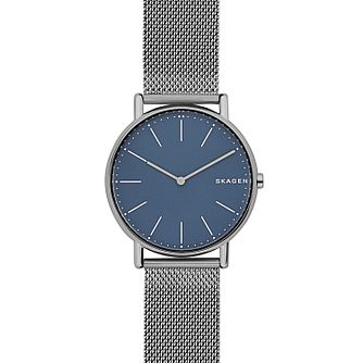 Skagen Signature Men's Titanium Blue Dial Bracelet Watch - Product number 8139776