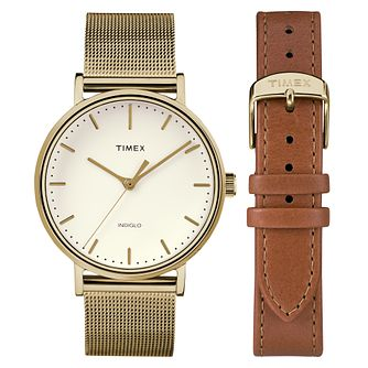 Timex Ladies' Fairfield Gold Mesh Bracelet Watch & Strap Set - Product number 8139954