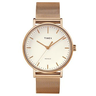 Timex Ladies' Fairfield Rose Gold Mesh Bracelet Watch - Product number 8139970