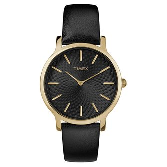 Timex Ladies' Black Leather Strap Watch - Product number 8140030