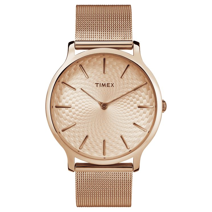 Timex Ladies' Rose Gold Mesh Bracelet Watch - Product number 8140057