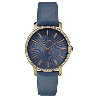 Timex Ladies' Blue Leather Strap Watch - Product number 8140073
