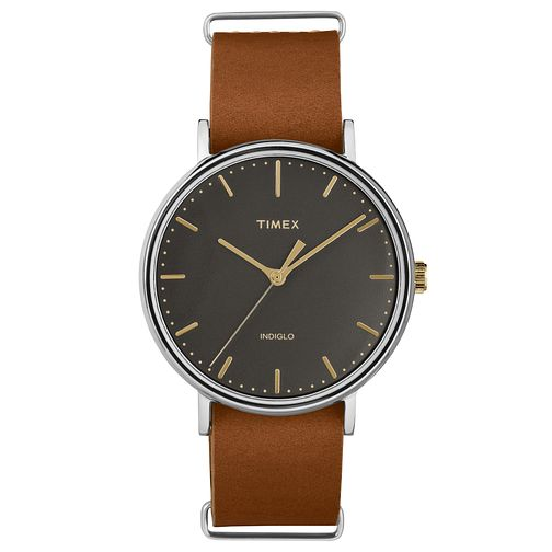 Timex Men's Weekender Fairfield Brown Leather Strap Watch - Product number 8140316