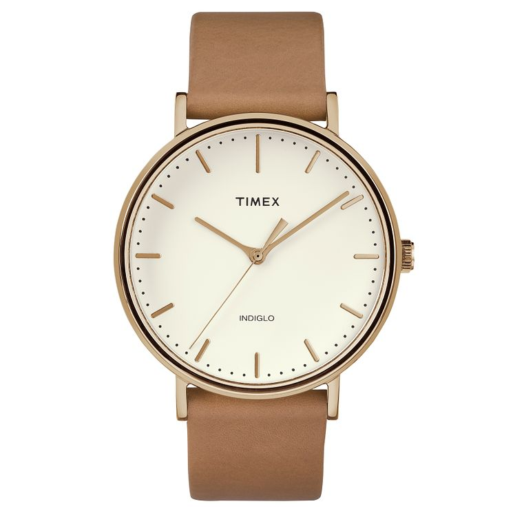Timex Men's Fairfield Brown Leather Strap Watch - Product number 8140383