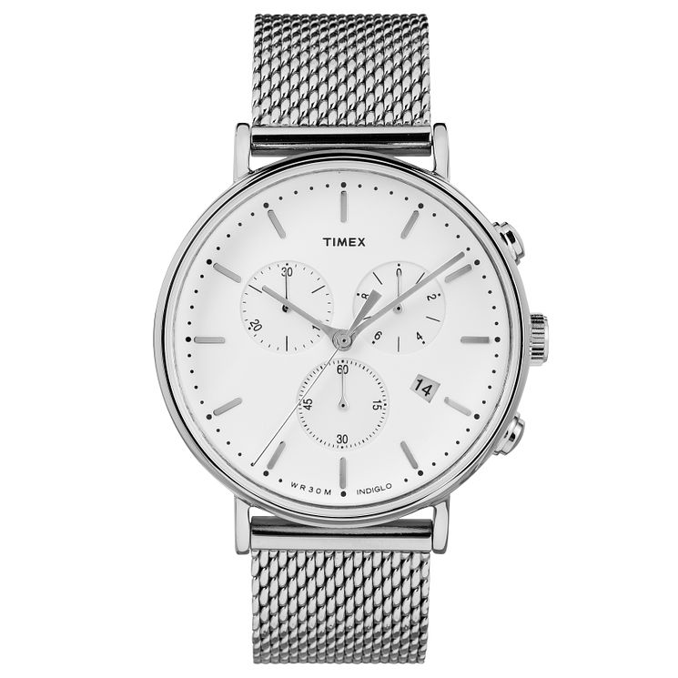 Timex Men's Fairfield Chronograph Silver Mesh Bracelet Watch - Product number 8140448