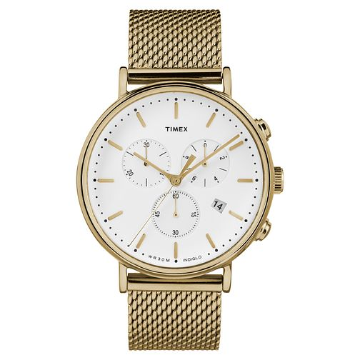 Timex Men's Fairfield Chronograph Gold Mesh Bracelet Watch - Product number 8140456