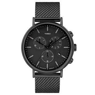 Timex Men's Fairfield Chronograph Black Mesh Bracelet Watch - Product number 8140464