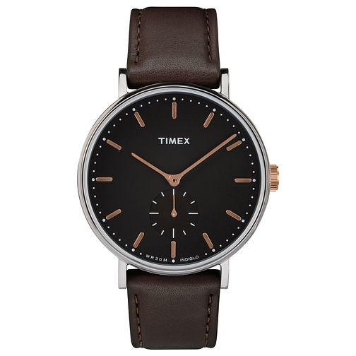Timex Men's Brown Leather Strap Watch - Product number 8140480