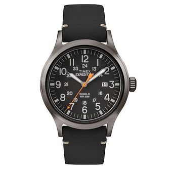 Timex Men's Expedition Scout Black Leather Strap Watch - Product number 8140618