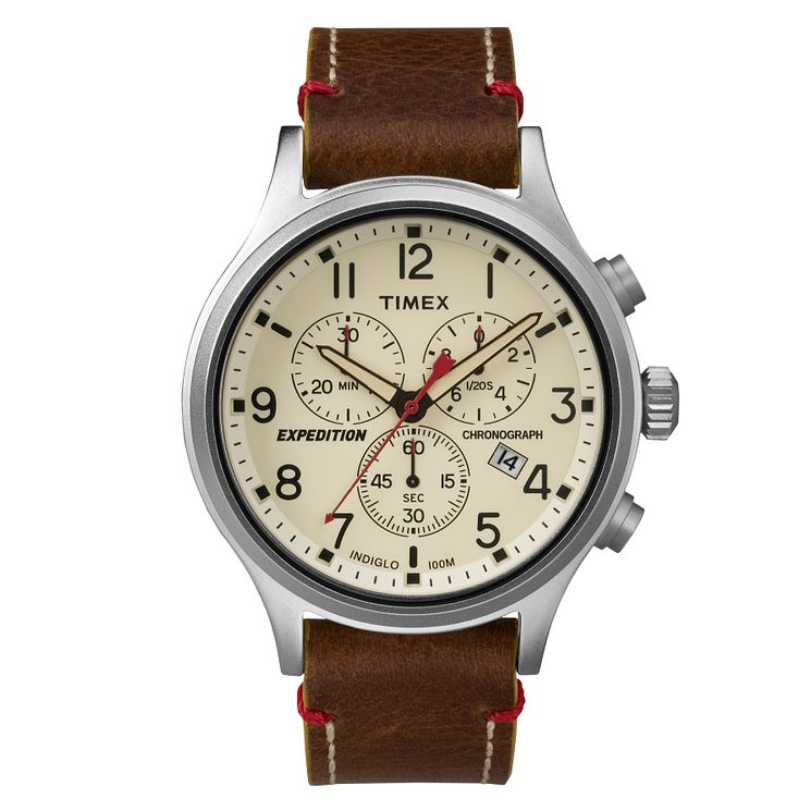 Timex Men's Expedition Brown Leather Strap Chronograph Watch - Product number 8140626