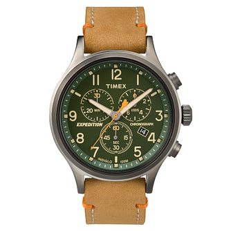 Timex Men's Expedition Tan Leather Strap Chronograph Watch - Product number 8140634