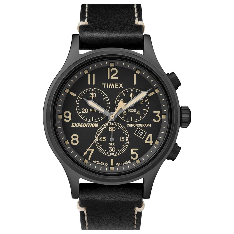 Timex Men's Expedition Black Leather Strap Chronograph Watch - Product number 8140650